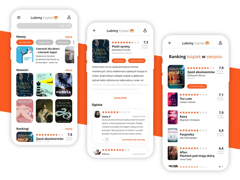 Lubimy Czytać - redesign app mobile uiux ui redesign concept book reading lubimyczytac.pl