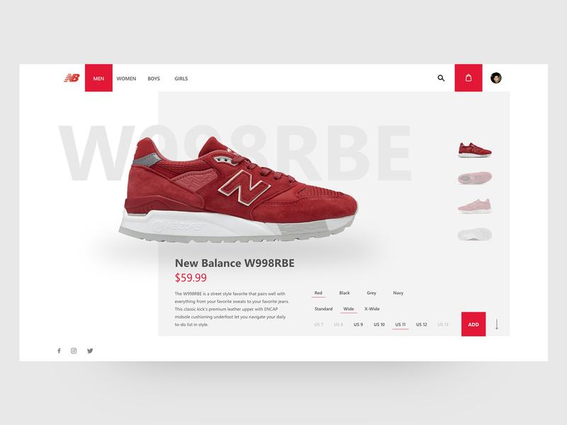 New Balance shop - concept redesign concept red uidesign ui website shop shoes new balance
