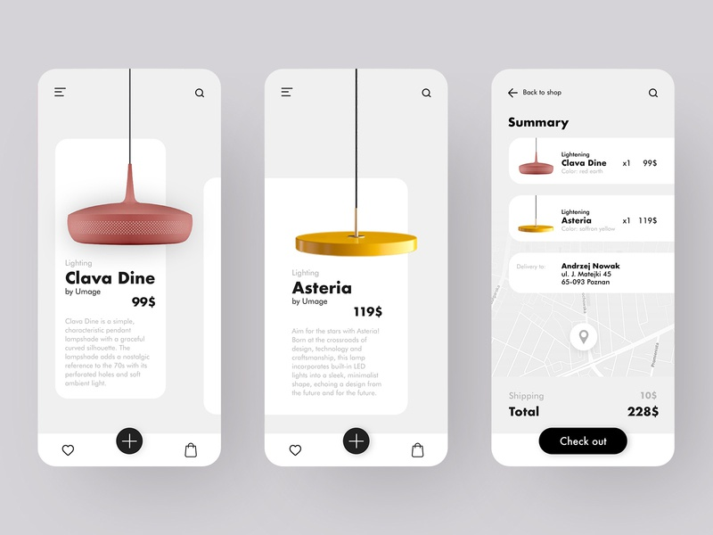 Lamp shop product ui concept shopping app delivery summary lamp shop mobile ui mobile