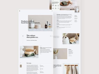 Plastic Free Webdesign Concept minimal website design landingpage webdesign products beauty website ui