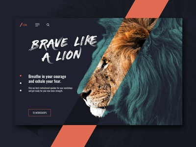 Lion Web Design typography design lion adobexd dailyui ui  ux website webdesign web
