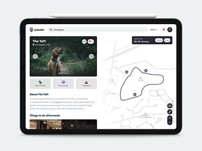 Wander 🐶 design ux user experience map minimal interface simple ui walking walk dog