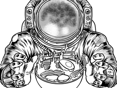 galaxy ramen ui food tshirt t-shirt typography nasa galaxy astronout spacex space ramen logo vector tshirtdesign polkadothero design illustration