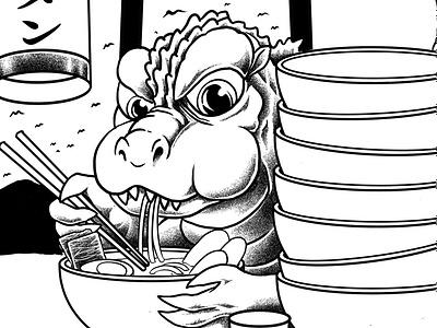 ramenzilla hamburger icon animation king of monster kanagawa branding food tatto tshirt ramen vector japanese t-shirt monster japan godzilla tshirtdesign polkadothero design illustration