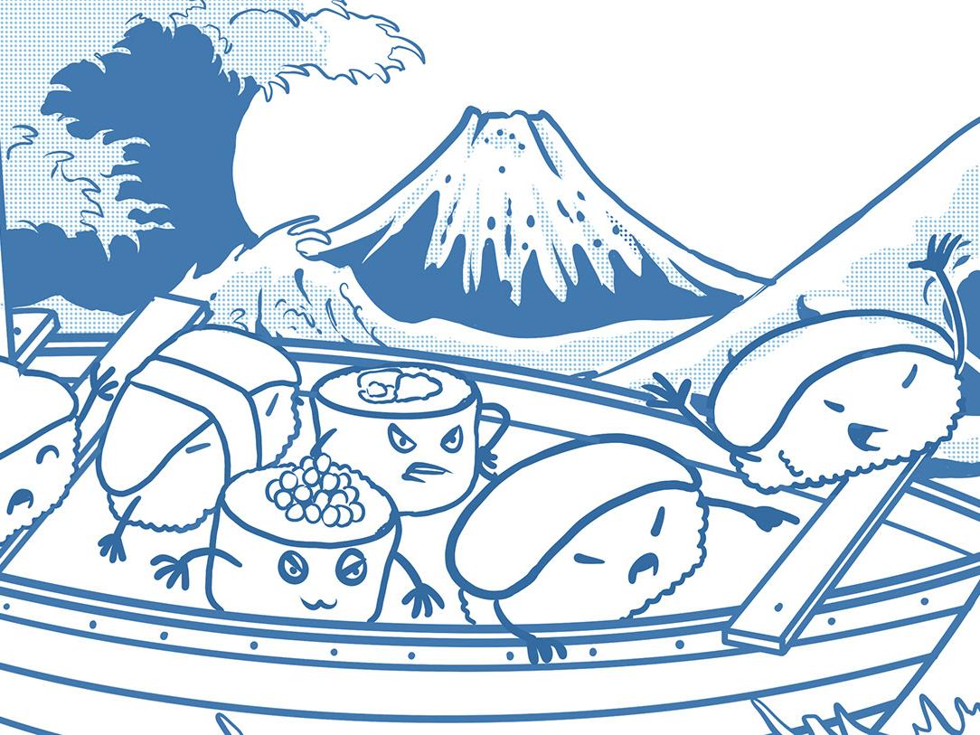 pirates sushi off kanagawa animation icon kanagawa food logo japan vector anime sushi ramen monster japanese t-shirt godzilla tshirtdesign polkadothero design illustration