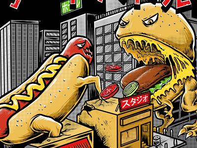 hotdog vs hambuger website flat animation ux ui branding typography burger hotdog icon vector food t-shirt tshirt logo monster tshirtdesign polkadothero design illustration