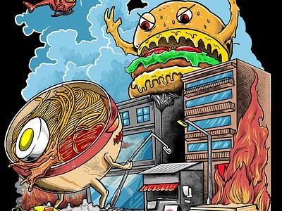ramen vs hamburger animation typography king of monster icon kanagawa branding tshirtdesign godzilla polkadothero burgers ramen monster japan vector logo japanese t-shirt illustration