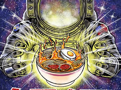galaxy ramen icon branding japanese illustration ui spacex astronout nasa space ramen tshirt vector logo t-shirt monster japan godzilla tshirtdesign design polkadothero