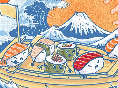 pirates sushi off kanagawa kanagawa icon sketch vegan drawing sushi tshirt godzilla food ramen logo vector japanese t-shirt monster design tshirtdesign polkadothero illustration