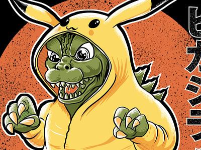 pikhazilla app yakuza king of monster animation tatto food branding tshirt ramen vector logo japanese t-shirt japan monster godzilla tshirtdesign design polkadothero illustration