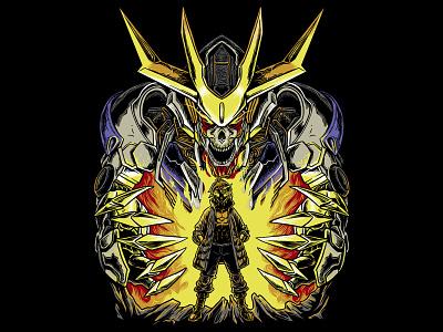 Gundam Barbatos -  I'll Drag You into Hell manga anime plamo tekkadan otaku mecha giant robot culture japan ibo iron blooded orphans gunpla gundam barbatos design polkadothero illustration