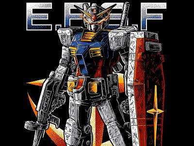 Gundam RX-78 unicorn sinanju efsf anaheim zeonic zeon tatto japanese japan robot mecha 78 rx78 amuro ray illustration polkadothero