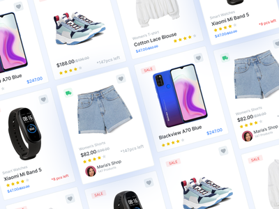 Ecommerce product card variants light sale shop product card ecommerce