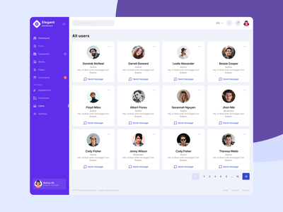 Dashboard Users Page UI crm cms manage control panel admin dashboard responsive bootstrap