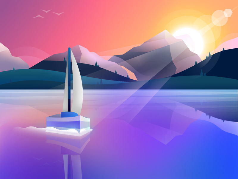 Sailboat Sunset mountains