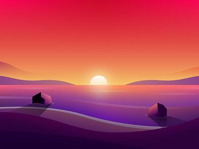 Beach Sunset sun ocean