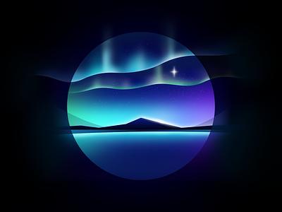 Aurora northern lights lights aurora nature affinity designer illustration