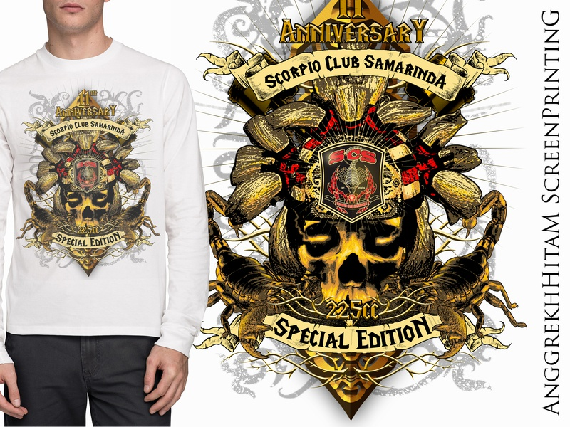 merch anniv scorpio indonesian motor club skull illustration design tshirt design mythical creature design art tshirt graphics gold golden traditional indonesia kalimantan borneo motorcycle motorbike motorclub mc