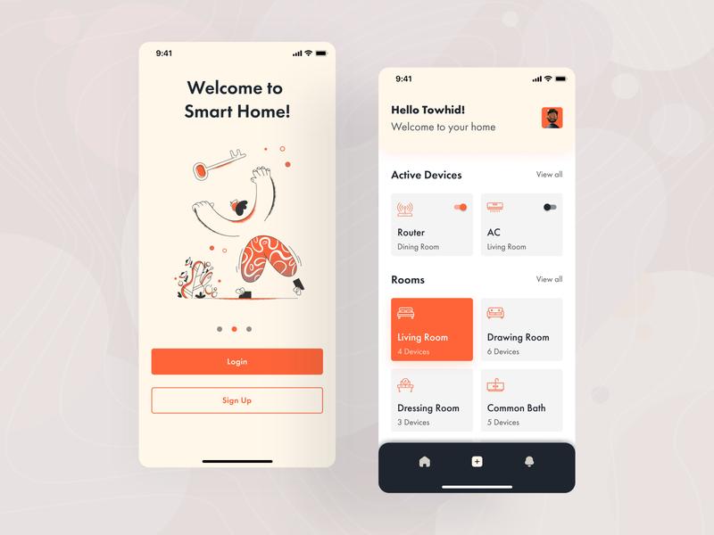 Smart Home App Exploration appdesign uxdesign ios design ux ui uidesign illustration uiux ui design ux design
