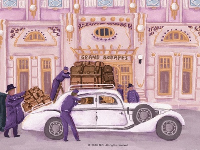 The Grand Budapest Hotel design  draw branding illustration design illustration art banner design design illustration