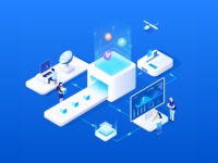 2.5D illustration - Business process system process enterprise 2.5d 2.5 web ewp website color bright blue illustration design ui
