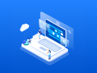 2.5d illustration - Enterprise Development 2.5d 2.5 ewp app bright blue illustration design ui