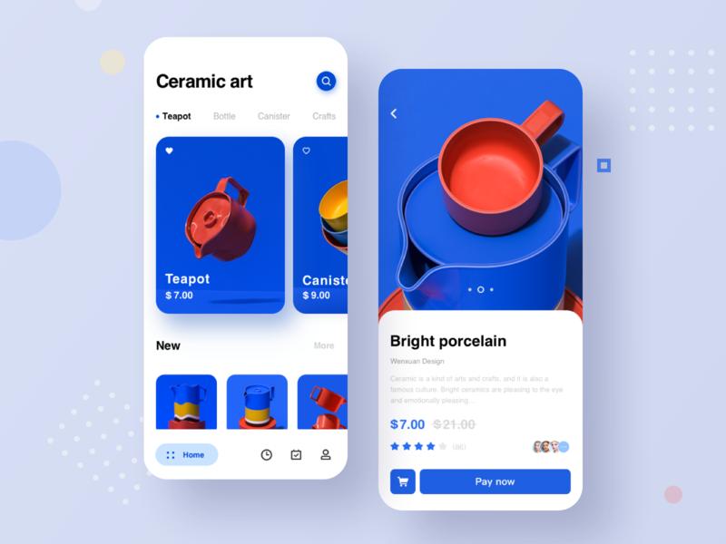 Ceramic art App UI embellishment porcelain transaction teapot decoration image blue ceramic design ux ui app