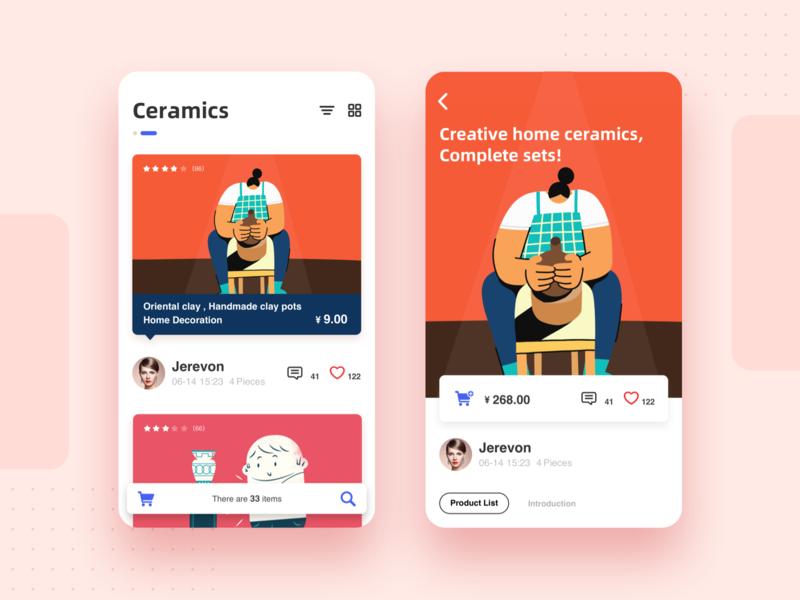 Ceramic display platform UI APP color e-commerce bright platform series red store orange pottery ceramics illustration app design ui
