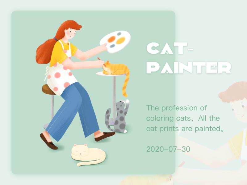 奇妙职业--猫咪彩绘师 手绘 插画练习 插图