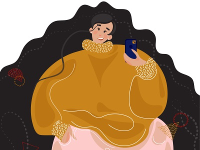 Body positive plus size cartoon Girl positivity overweight phone sweater happy woman selfies selfie plus size bodypositive girl character flat  design vector illustration