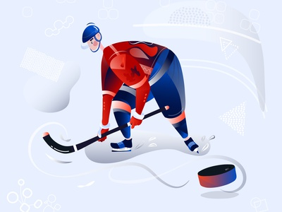 Kontinental Hockey League player ice sporting goods sports puck flat vector illustration flat  design sport hochey