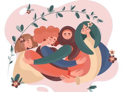 The unification of women of all nations. Unity and happiness happiness unity women charachters creative ui kit flat design girl character vector illustration flat  design