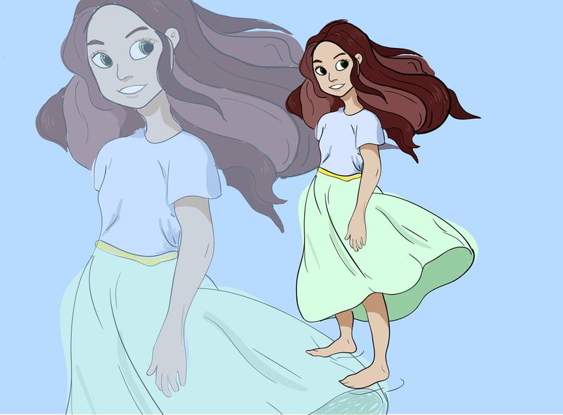 Windy girl hair windy girl design art vector illustration flat