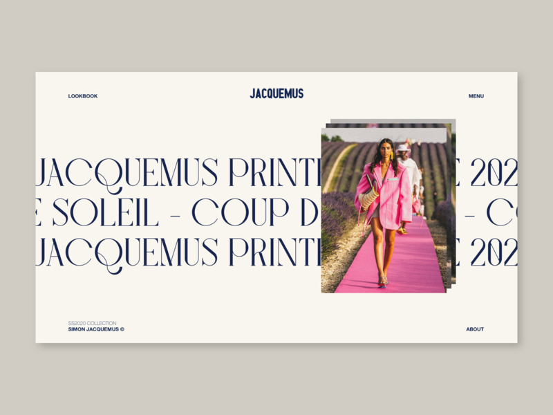 JACQUEMUS SS20 — Coup de soleil 01 web ui typography layout grid fashion concept minimal webdesign