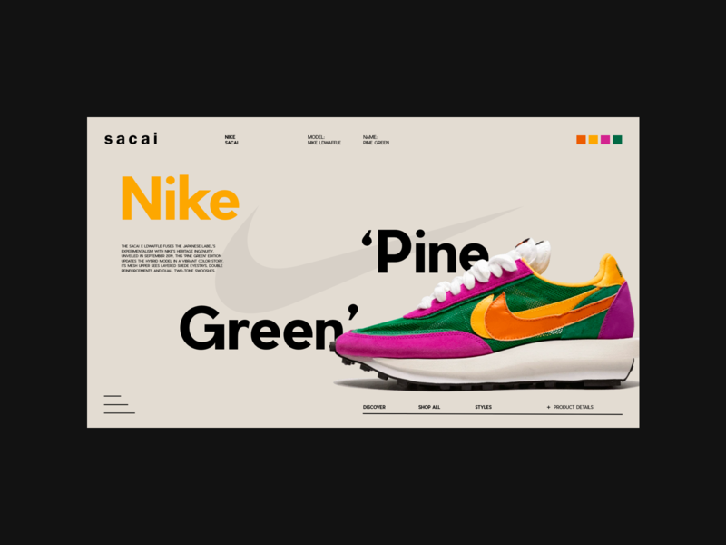Sacai — Layout exploration typography fashion clean nike sneakers grid layout grid minimal webdesign