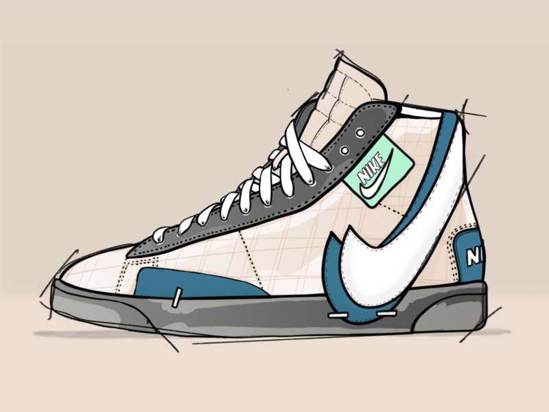 Nike Blazer mode draw design shoes illustration fashion art