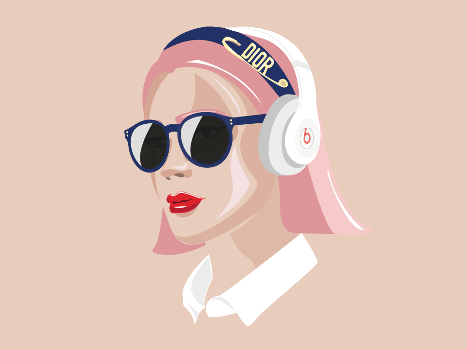 Beats girl (II) fashion art design character vector draw portrait poster girl dior illustration graphicdesign art