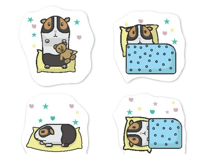 Guinea pig stickers illustration