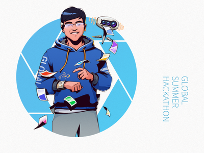 Tech-Hack theme portrait illustration series awards techno portrait graphic design drawing illustration