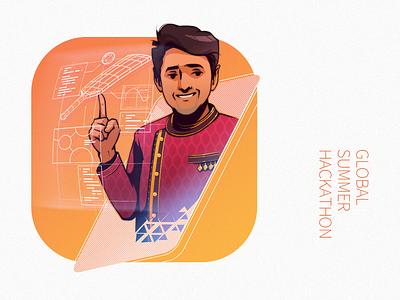 Tech-Hack theme portrait illustration series graphic techno awards hackathon portrait drawing illustration