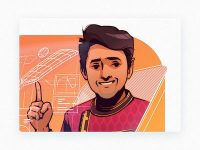 Tech-Hack theme portrait illustration series-Part portrait techno hackathon awards drawing graphic illustration