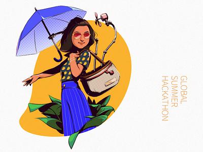 Tech-Hack theme portrait illustration series graphic hackathon techno awards portrait drawing illustration