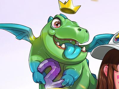 DVA&Baby Dragon clash royale overwatch drawing illustration fanart game art