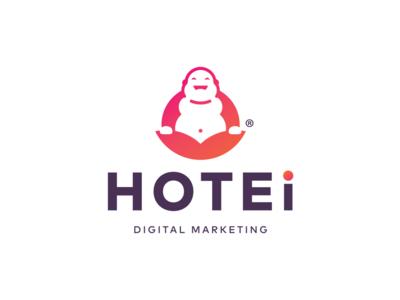Hotei Digital Marketing illustration vector design logo mark laughingbuddha logo buddha digitalmarketing