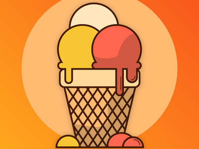 Ice Cream Illustration icon illustrator vector minimal illustration graphic design flat design art animation