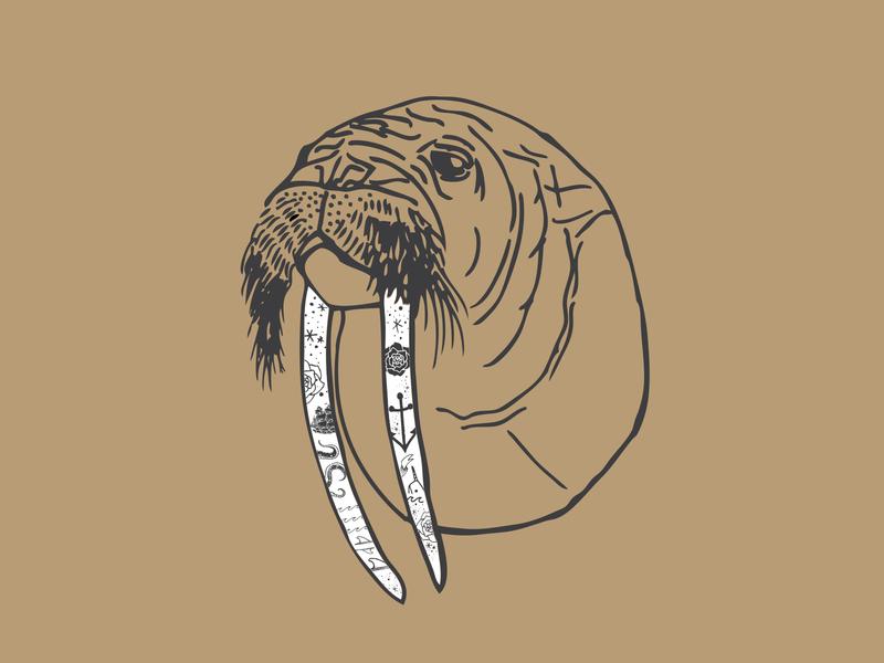 Scrimshaw Wally surf vector illustration apparel design