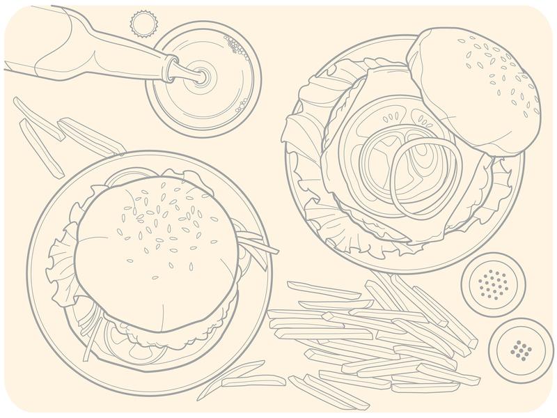 Set of lines illustrations for diverse restaurants. wine beer burgers burger greek mexican food fish and chips korean food italian food restaurant app restaurants food vector illustration