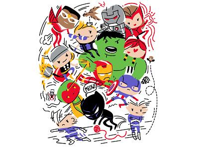 Avenge Kids thor black panther captain america ironman hulk comic art kids cute illustration superhero avengers marvelcomics marvel comics marvel