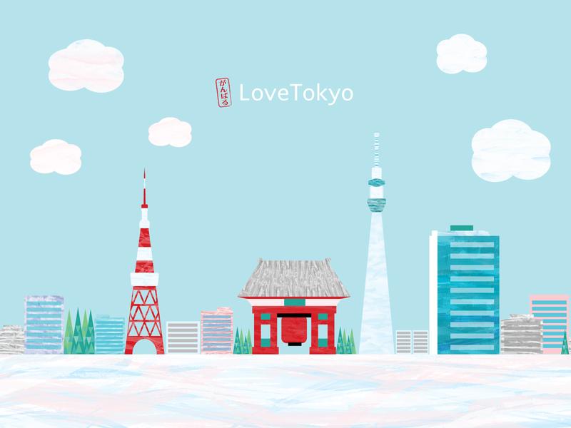 tokyo city tokyo japanese illustation