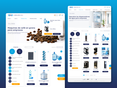 Eden Water product catalog proposal b2b categories proposal webdesign filters selling coffee water catalog shopping cart desktop design ui